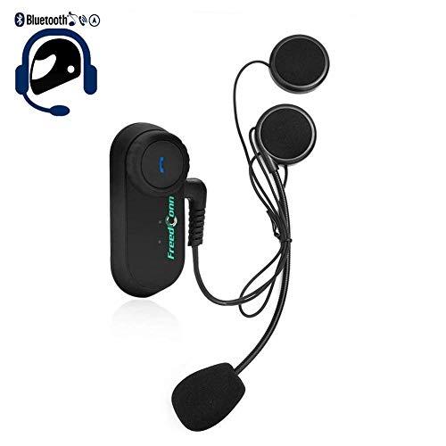 UKSoku T-COM VB Motorrad Bluetooth Intercom Helm Headset Gegensprechanlage Kopfhörer Unterstützung bis zu 3 Reiter FM-Radio 800 Meter Wechselsprechanlage Entfernung für Motorradhelm Skihelm Eislaufen