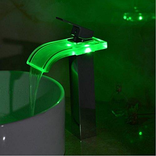 Messing-glas-brunnen (Galvanik Galvanik Retro Retro Wasserhahn Wasserhahn hoch Chrom LED RGB Farbwechsel Badezimmer Glas Auswurfkrümmer mixer Wasserfall messing Glas Wasserfall abstichrinne Hahn 9954, Messing)