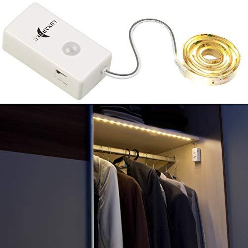 Lunartec LED Band: Indoor-LED-Streifen, 18 LEDs, PIR-Sensor, Batteriebetrieb, 160lm, 60cm (LED Streifen mit Batterie) -