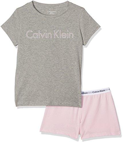 Cotton Knit Pyjama (Calvin Klein Mädchen Pyjama Set Modern Cotton Knit PJ Set (S+Short), Mehrfarbig (Heather Grey w/ Unique 004), 116 (Herstellergröße: 6-7))