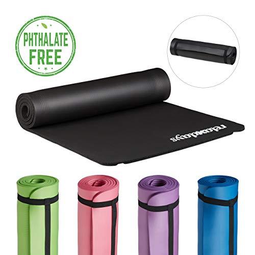 Relaxdays Yogamatte gepolstert, 1 cm dicke Übungsmatte, Für Pilates, Aerobic, Gymnastik, HBT: 1 x 61,5 x 182 cm, schwarz