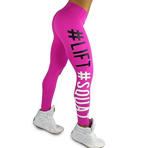 Ode_Joy Donne Pantaloni da yoga Stampa di lettere movimento -Sport fitness a vita alta a coste Leggings - alta vita sportiva palestra athletic Pantalone -Sport Allenamento Leggings(rosa,S)