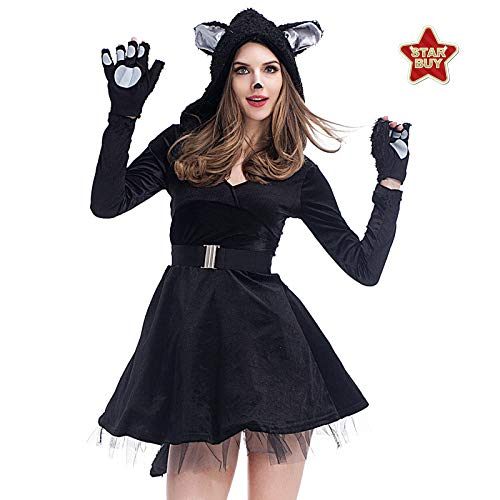 Panda Für Sexy Baby Erwachsene Kostüm - COSOER Sexy Black Cat Kleid Cosplay Kostüm Panda Animal Kostüm Für Halloween Female Wear,Black-XL
