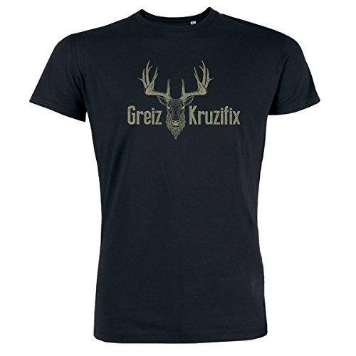 Trachten T-Shirt Greiz Kruzifix Bio Baumwolle S-3XL Trachtenshirt Oktoberfest Bayrisch Wiesn Lederhosen Männer Herren Hirsch Österreich Schwarz-Khaki XXL