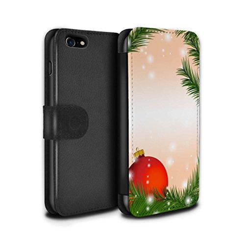 Stuff4 Coque/Etui/Housse Cuir PU Case/Cover pour Apple iPhone 7 / Pack 9pcs Design / Décoration Noël Collection Boule/Arbre