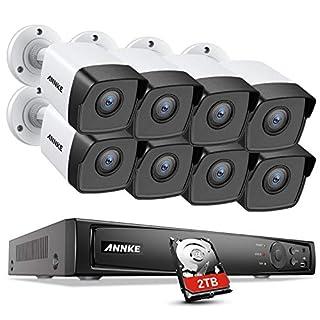 ANNKE 8CH 5MP PoE Überwachungskamera Set,8X 5MP IP Kamera mit 4K Videoüberwachung NVR Rekorder,Wasserfest für Aussen Innen,H.265+ 2TB Festplatte, EXIR Nachtsicht bis zu 30 Meter für Haus Sicherheit