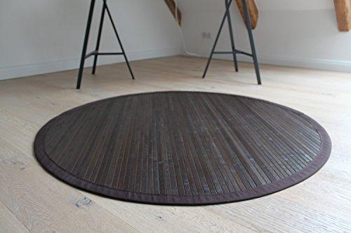 Bambusteppich COFFEE 120 cm rund, 17mm Stege, breite Bordüre, massives Bambus | Bordürenteppich | Teppich | Bambusmatte | Wohnzimmer | Küche |...
