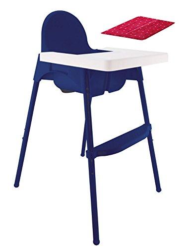 Bieco 45000002 Kinderhochstuhl, circa 100 x 60 x 70 cm, mit Unterlage, zusammenklappbar, blau