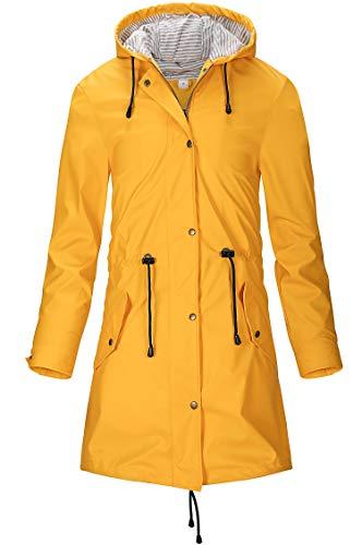 SWAMPLAND Damen PU Regenjacke Mit Kapuze Wasserdicht Windbreaker Wetterfest Übergangsjacke Regenmantel, Gelb 46