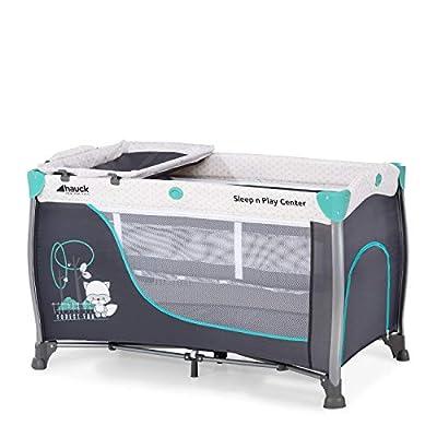 Hauck Sleep N Play Center 3 - Cuna de viaje 7piezas, de 0 meses a 15 kg, plegable, antivuelco, doble altura para recien nacido, cambiador, ventana, bolso de red, ruedas, bolsa de transporte