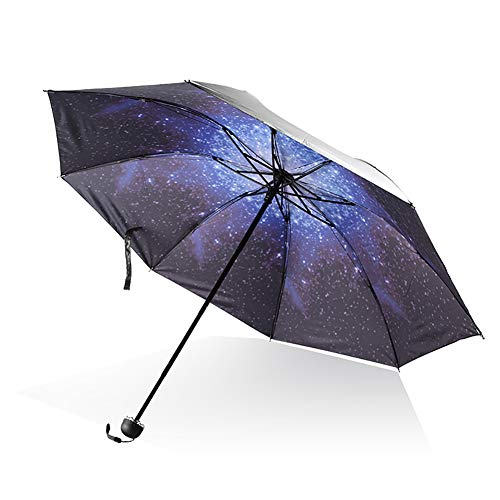 Hilai 1pc antivento ombrelli da viaggio tri-fold ombrello cielo stellato modello ombrelloni vinile ombrellone uv protezione esterna ombrello nero