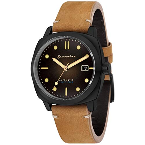 SPINNAKER Men's Hull 42mm Brown Leather Band Automatic Analog Watch SP-5059-04