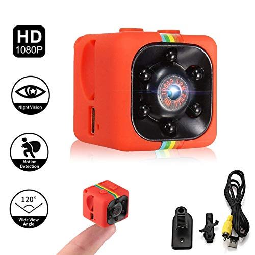 Adaym Leichte Mini Kamera, SQ11 HD 1080P Camcorder Sport Mini DV Video Recorder Spion Kameras mit Nachtsicht (Orange) - Cam Vision Xbox
