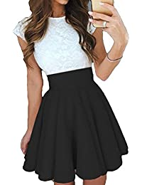 Juleya Mini Vestido de Mujer - Vestidos de Encaje de Manga Corta, Elegantes para Mujeres