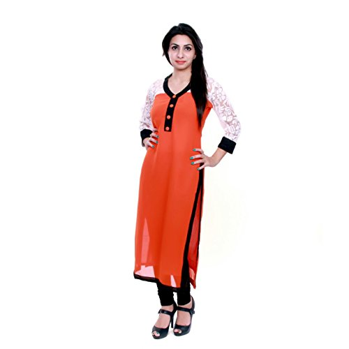 Fusion Multicolor Cap Half Long Short Sleeve sleeveless Kurtis Kaftan for Girls (GT-KVG-O-XXL)