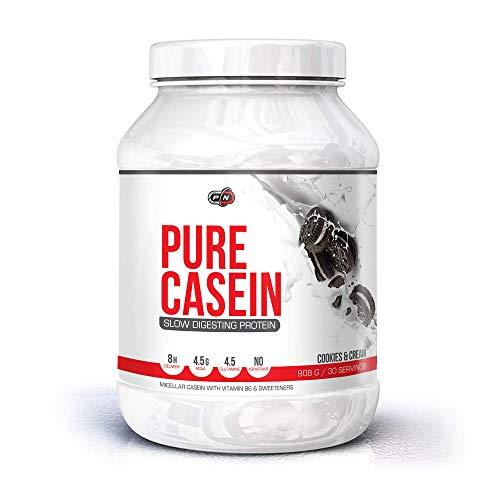 Pure Nutrition Micellar PURE CASEIN Protein Pulver|4.5g BCAA Glutamin|Langsam Verdauliches Eiweißpulver Complex Drink Day Night|Schokolade Cookies Geschmack|Low Carb Fat Zucker|15|30|60 Portionen -