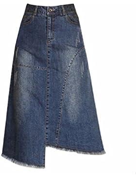 QPSSP Irregular Tassel Jeans, Largo De Cintura Alta Cintura Falda Falda, Vestido De Mujer