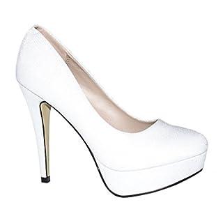 Elara Plateaupumps | Damen Glitzer Stiletto High Heels | Party Pumps Größe 36, Farbe Weiss