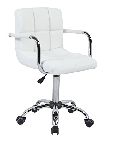 HNNHOME nuovo Design girevole da ufficio in pelle PU Sedia da ufficio Furnitue-Scrivania per Computer Bianco