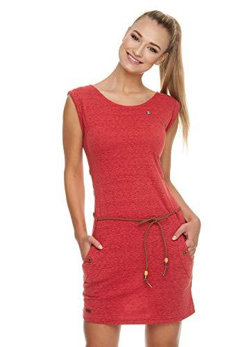 Ragwear Tag Damen,Kleid,Sommerkleid,ärmellos,vegan,Rundhalsausschnitt,Taillengürtel,Taschen,Coral,S