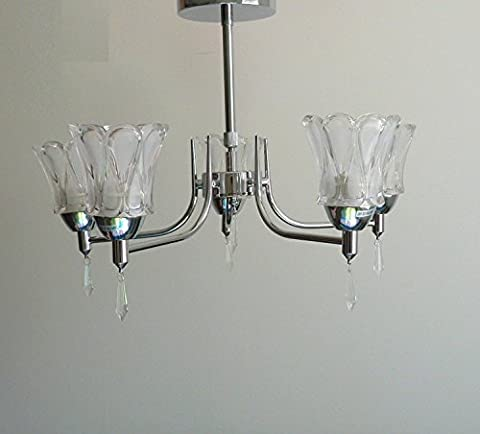 LIUYU Frosted Glass Shade 5-Way Ceiling Lights With Polished Chrome