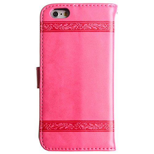 CellularOutfitter Apple iPhone 6/6s Leather Wallet Case - Embossed Heart and Vine Design w/ Matching Detachable Case and Wristlet - Brown Hot Pink