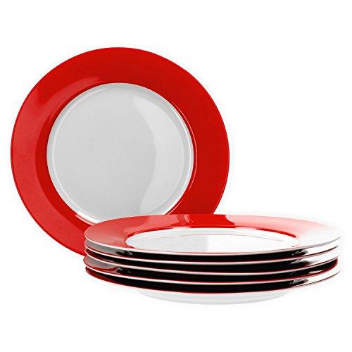 farbige teller Van Well 6er Set Speiseteller Essteller flach Serie Vario Porzellan - Farbe wählbar, Farbe:rot