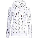 LYLXS Damen Sweathoodie mit Allover Print im Anker Muster - Kuscheliger Kapuzenpullover Zip-Hood