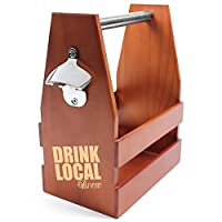 Cathy's Concepts Drink Local Wooden Craft Beer Carrier with Opener, Brown