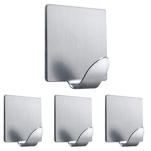 Ganci adesivi, ganci a muro ganci da parete resistenti ganci impermeabili in acciaio inox per accappatoi, cappotto, asciugamano, chiavi, borse, luci, calendari -cucina da bagno da cucina a 4 pacchetti