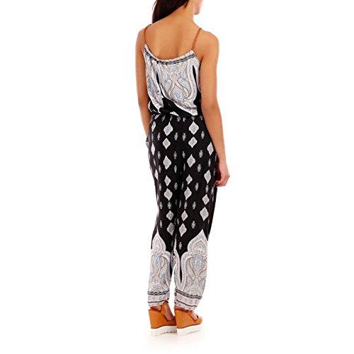 La Modeuse - Combinaison pantalon noire imprimé ethnique Noir