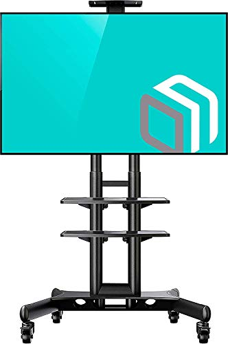 """ONKRON Mobil TV Ständer für 32\'\'- 65\"""" Zoll LCD OLED LED 4K 8K Fernseher Höhenverstellbar Rollbar TV-Standfuss mit AV-Ablagen VESA 100x100 bis 600x400 mm TS1552 Schwarz"""