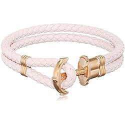 Paul Hewitt Pulsera para Mujer PHREP - Pulsera de Cuero Rosa Claro con Ancla, Brazalete de Mujer con Cuerda de Vela y Ancla, Accesorio de Acero Inoxidable bañado en Oro Rosa
