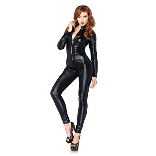Sexy Damen Katzenkostüm Catwoman Kostüm Overallkostüm Ganzanzug Ganzkörperanzug Catlady Catsuit Lack Anzug Bodysuit Nachtkleid Clubwear PU Leder für Halloween Cosplay Party von Discoball® Größe M (Sexy Frauen Anzüge)