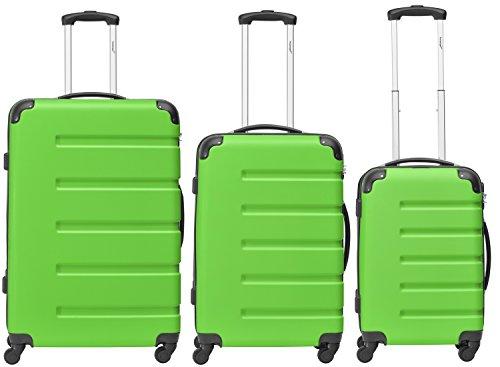 Packenger 3er Koffer-Set 'Marina' Trolley-Set Hartschale (M, L & XL) in Grün / 4 Gummi Rollen (360°) / Koffer mit Zahlenschloss / stabiler eleganter Alltags...