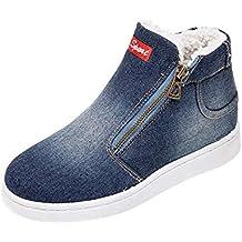 JUSTSELL Schuhe Damen Herbst,Frauen Cowboy Leinwand Sneaker Reißverschluss  Sportschuhe Schnallen Warm Gefüttert Baumwollschuhe SKunstlederer Warm 810f44ee4d