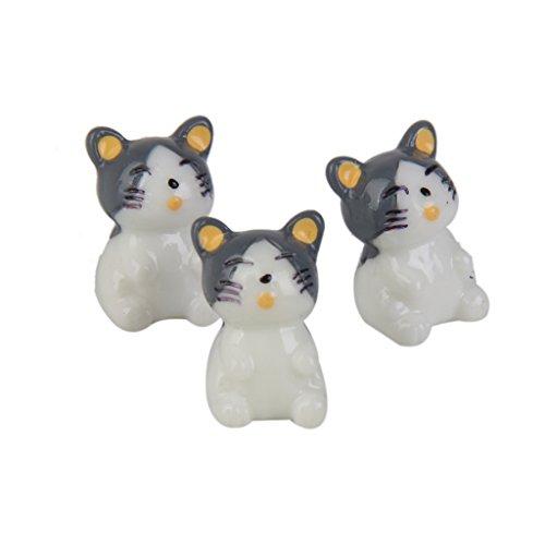 10pcs Dollhouse Casa De Muñecas Miniatura Gatos Decoración Bonsai Micro Paisaje Jardín (gris)