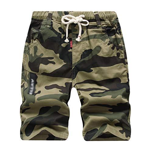 YOUJIAA Camouflage Shorts für Jungen Drawstring Cargoshorts Kinder Jogger Sport Jogginghose Bermuda - Gelb, 160
