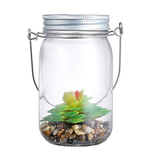 Einmachglas Lichterkette, CHsheTM Künstliche Grüne Pflanze Einmachglas Licht Wetterfest Solarlampen Nachtlicht Lichterkette Wand Gartendeko Für Weihnachten,Außen Laterne, Hochzeit,Party -