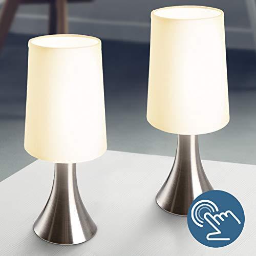Tischlampe mit Dimmer Touchfunktion | 1er oder 2er Set, E14, Touch Dimmbar | Nachttischlampe, Berührungssensor Tischleuchte, Nachttisch-Leuchte | für Wohnzimmer, Schlafzimmer, Kinderzimmer (2er)