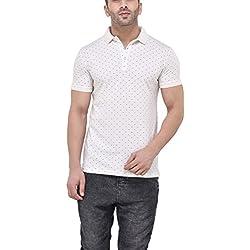 Tinted Men's Polka dot Slim fit T-Shirt (TJ503-WHITE-XL_White_X-Large)