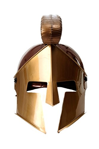 DRESS ME UP - Halloween Karneval Helm Kammbusch aufklappbares Visier Rüstung Gladiator Rom Sparta Spartanerhelm Antike Braun-Gold (Kostüme Perseus Halloween)