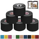 BB Sport 6 Rollos Cinta Kinesiología Tape 5 m x 5 cm Cinta Muscular E- Book Ejemplos Aplicación, Color:negro