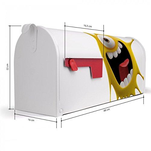 BANJADO US Mailbox | Amerikanischer Briefkasten 51x22x17cm | Letterbox Stahl weiß | mit Motiv Karl Splash, Briefkasten:mit schwarzem Standfuß - 2