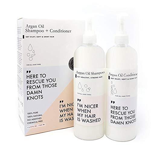 BEST Arganöl Shampoo & Conditioner Set (473ml x 2) | Organisch | OHNE SULFATE; PARABEN & TIERVERSUCHE | Für Gesunde Haare & Eine Gesunde Kopfhaut | Verbessert das Haarwachstum