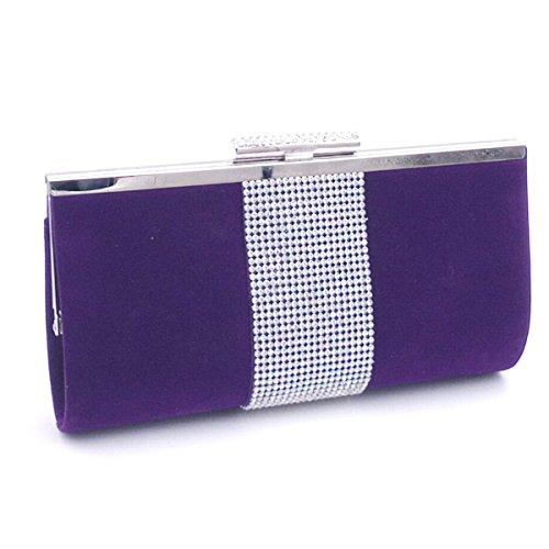 Donne Qualità Borchie Strass Velluto Sacchetti Di Sera Borsa Multicolore Purple