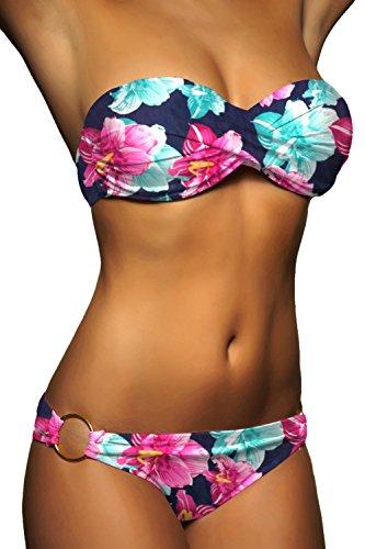 Twist Bandeau-bikini-badeanzug (ALZORA Push Up Bandeau Twist Bikini Set Damen Pushup Badeanzug viele bunte Farben und Größen Top + Hose Set , 50002 (M, F16))
