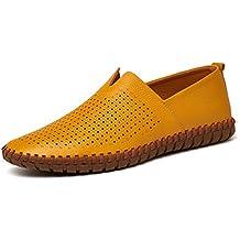 Mens ConduccióN Zapatos Mocasines De Cuero Genuino Zapatos Moda Artesanal Suave Transpirable Mocasines Pisos Deslizarse En