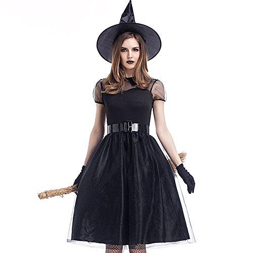 Feicuan Damen Hexe Enchantress Kostüm Cosplay Fancy Kleid Halloween Karneval Fasching (Halloween Kostüme Black Dress Little)