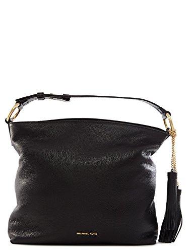 MICHAEL Michael Kors Grand sac à bandoulière Elyse Noir Black Leather